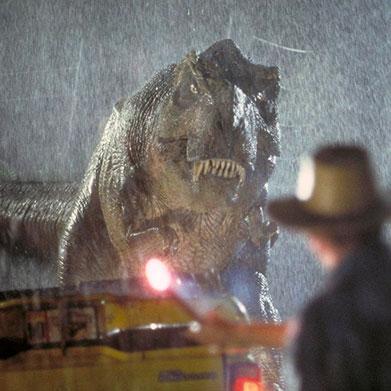 Los dinosaurios en la ciencia ficción - Alan Grant con T-Rex (Paleontologo)