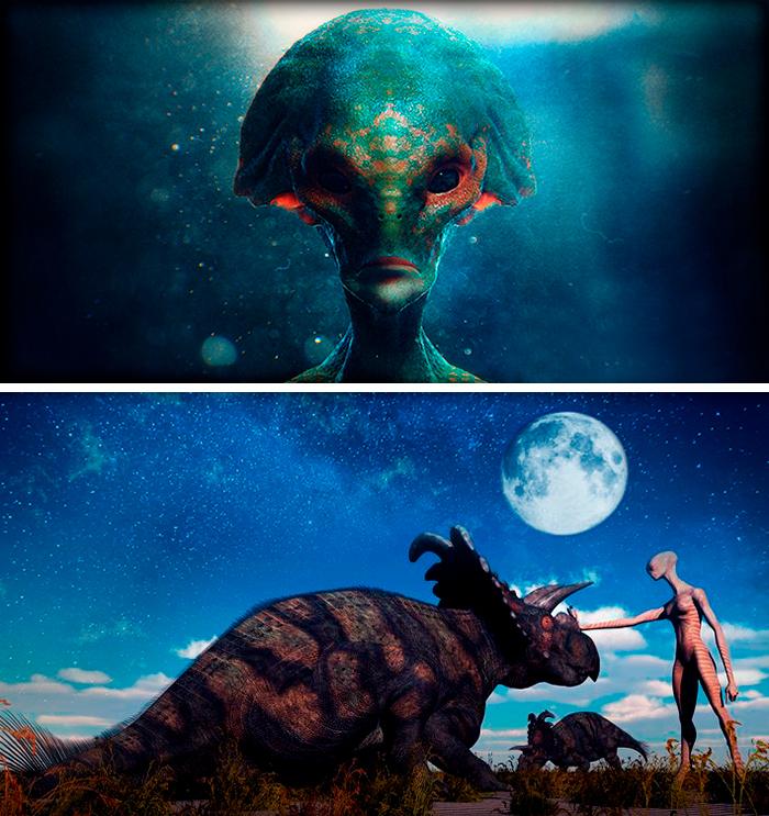 dinosaurios visitados por extraterrestres