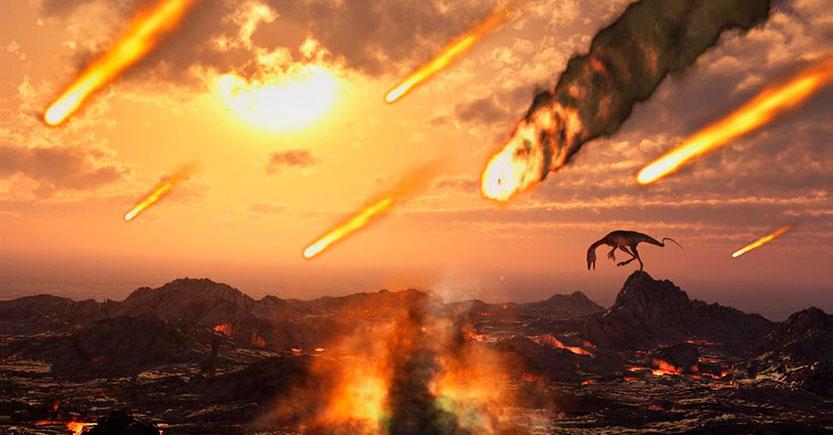 la teoria del meteorito o asteroide o volcan.