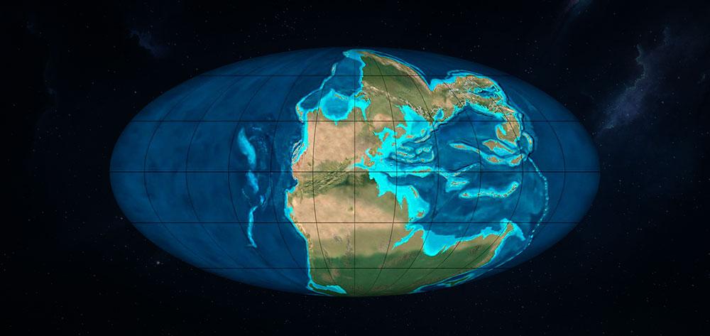 Pangea periodo durante el triasico medio de la era Mesozoica