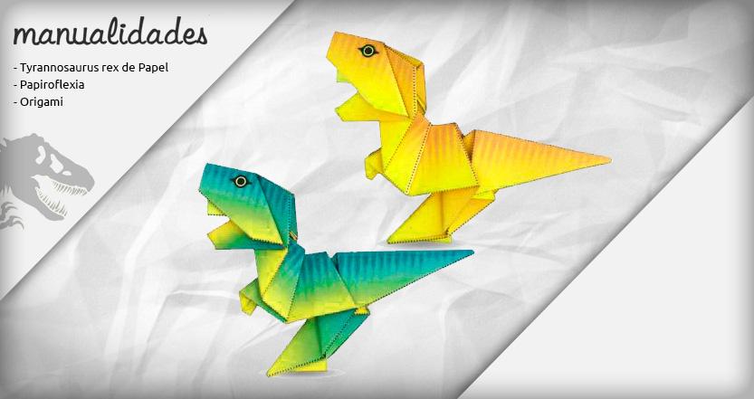 plantilla origami t rex amarillo pina