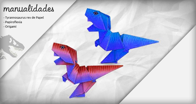 plantilla origami t rex azul azulado