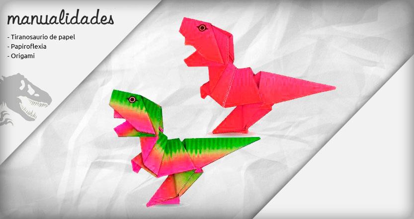 plantilla tyrannosaurus rex origami rojo lamborgini