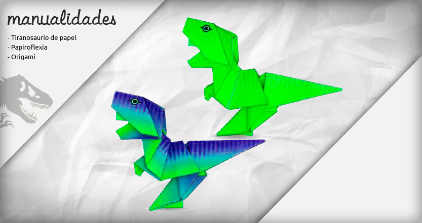 plantilla tyrannosaurus rex origami verde electrico