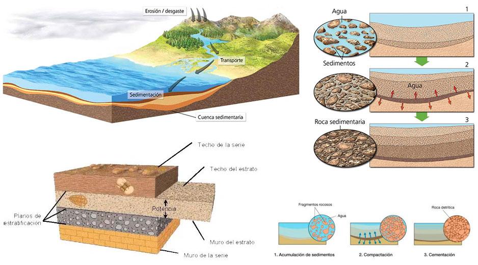 sustrato estratos capas de sedimentos en la roca